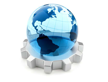techniques: Glass Earth globe sitting on a gear - 3d render Stock Photo