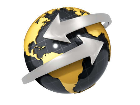 directing: Two arrows surrounding Earth globe - 3d render Stock Photo