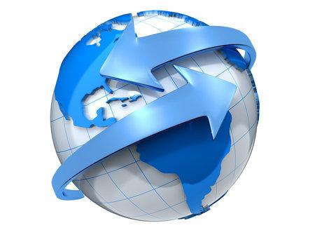 globo terraqueo: Dos flechas que rodea la tierra globo procesamiento - 3d