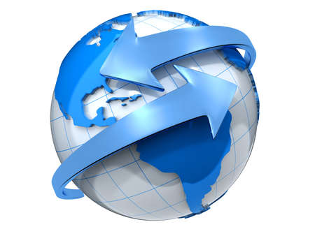 connection connections: Two arrows surrounding Earth globe - 3d render Stock Photo