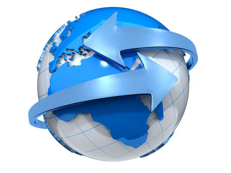 Deux fl�ches entourant la terre globe rendu 3d-