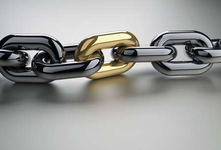 oneness: Chain with a shiny golden link - 3d render Stock Photo