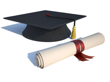 mortarboard: Graduation cap and diploma - rendered in 3d