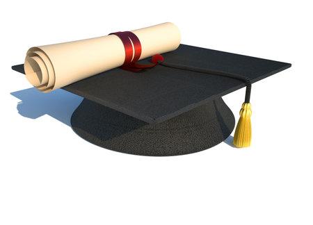 graduacion de universidad: Gorro de graduaci�n y diploma aislados en blanco - prestados en 3d