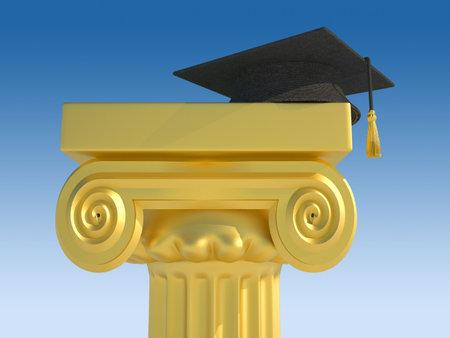 columnas romanas: Gorro de graduaci�n sobre procesamiento de columnas romanas - 3d  Foto de archivo