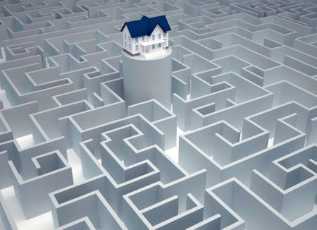 House sitting in a huge maze - 3d render photo