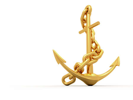 steely: Gold anchor on white background - 3d render