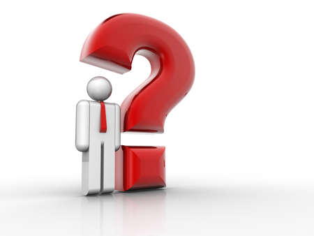 Man icon sitting under a question mark - 3d render Stock Photo - 5863260