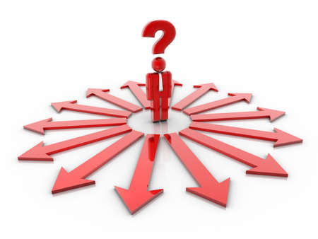 asking question: People icon with question mark over his head and surrounded by directional signs - 3d render
