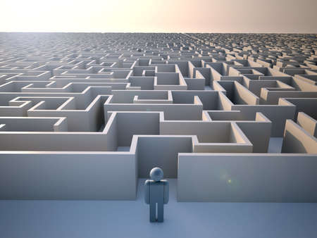 journey problems: Man standing at the entrance of a huge maze - 3d render