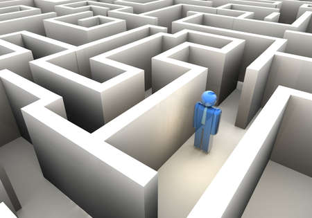 Businessman icon lost in maze - 3d render photo