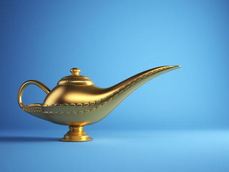 Lámpara de Aladino mágica dorado sobre fondo azul - 3d procesamiento  Foto de archivo