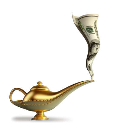 Golden magic Aladdin lamp smoking money - 3d render photo