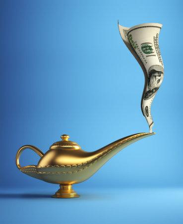Golden magic Aladdin lamp smoking money - 3d render photo