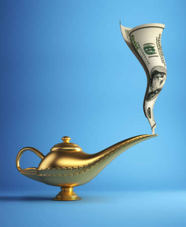 Oro lámpara mágica de Aladdin dinero - 3d procesamiento de fumar