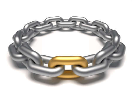 gold chain: Silver chain in circle with an outstanding golden link - 3d render
