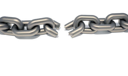 Conceptual chain with a broken link suggesting weaknesss in a team - 3d render Stock Photo - 5862866