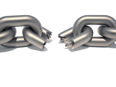 cadena rota: Cadena conceptual con un v�nculo roto sugiriendo weaknesss en un procesamiento de equipo - 3d
