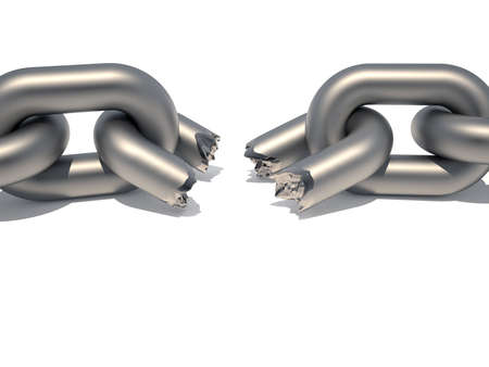 chainlinked: Conceptuele keten met een verbroken koppeling suggereren weaknesss in een 3d - render team