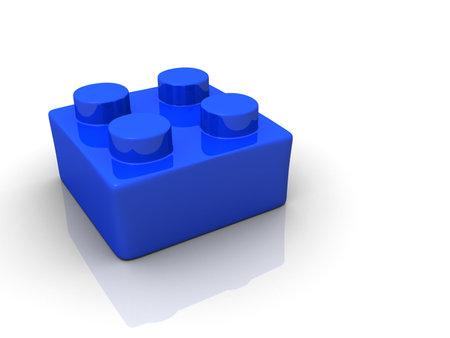 Bloc de jouet lego bleu sur blanc backround - 3d rendu