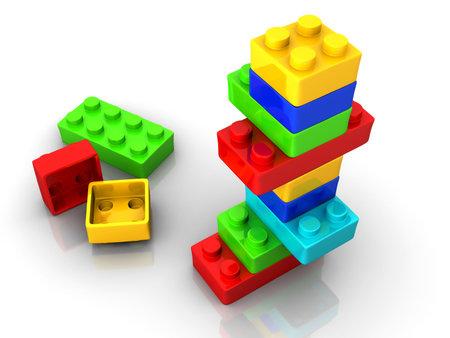 Blocs de jouets lego color� sur fond blanc - 3d render Banque d'images