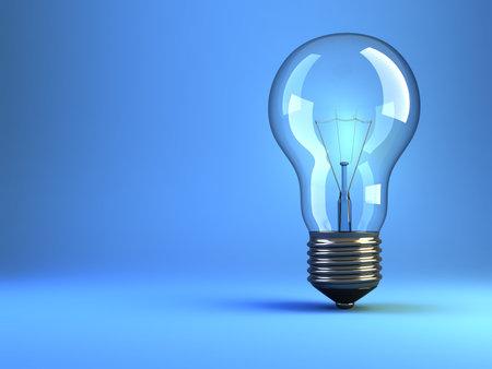 incandescent: Illustration of incandescent lightbulb on blue background - 3d render Stock Photo