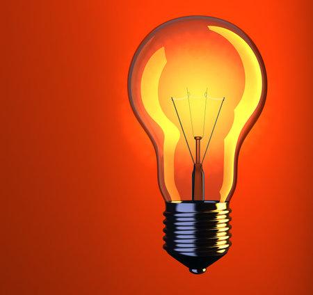 incandescent: Illustration of incandescent lightbulb on red background - 3d render
