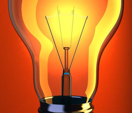 incandescent: Close up of incandescent lightbulb on red background - 3d render