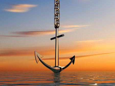 바다 -3d 렌더링에 내려가는 앵커의 그림
