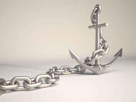 Metallic anchor and chain - 3d render