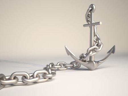 in ketten: Metallische Anker und Kette - 3d render