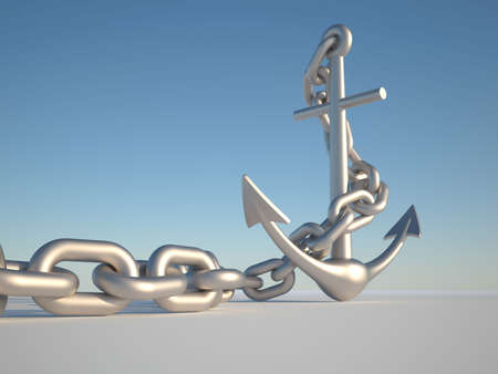 Anchor and link on clear blue sky - 3d render photo