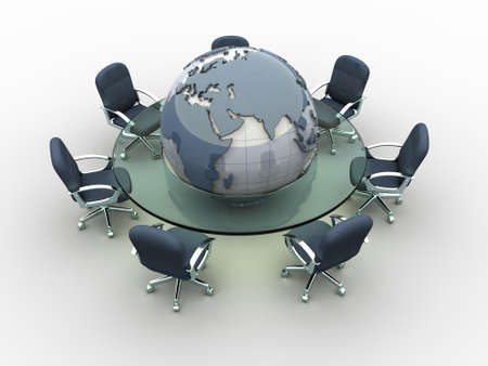 Glass conference table with Earth globe in middle - 3d render Stock Photo - 5863206