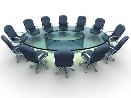 round chairs: Glass conference table with business chairs - 3d render Stock Photo