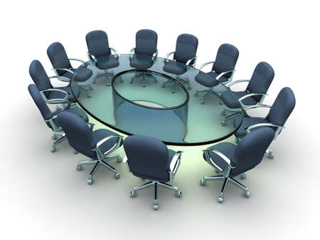 Glass conference table with business chairs - 3d render Stock Photo