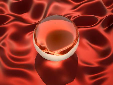 Magic crystal ball sitting on satin cloth - 3d render photo