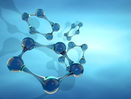 particles: Conceptual structure of molecule -3d render