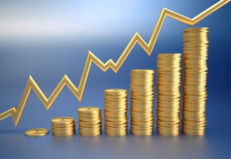 rd: Diagramma finanziario costituiti gold penny - rendering rd Archivio Fotografico