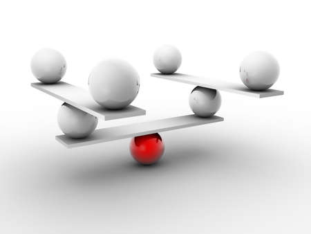 poise: White spheres balanced by a red sphere - 3d render Stock Photo