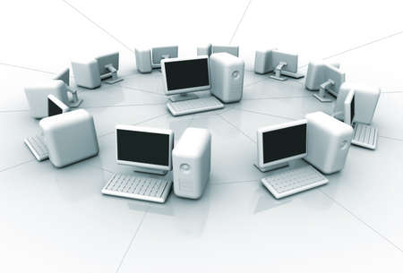 computer center: Conceptual computer network in circle with the server in center