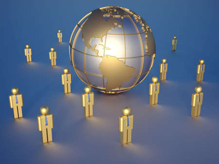 golden globe: Earth globe showing America, surrounded by people icons Stock Photo