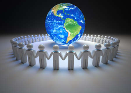 surrounding: People icon surrounding Earth globe - 3d render