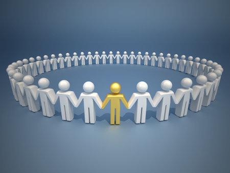 Ic�ne personnes d�tenant des mains et formant un cercle  Banque d'images