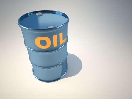 spillage: A simple oil drum  - illustration rendered in 3d Stock Photo