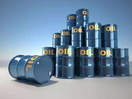 hazardous waste: A stack of oil drum  - illustration rendered in 3d
