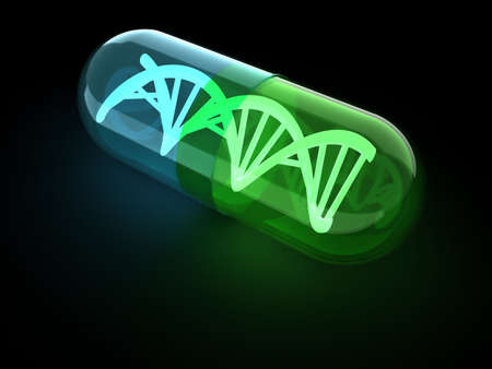 Dna structure inside an antibiotic capsule - 3d render photo