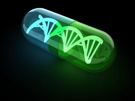 antibiotics: Dna structure inside an antibiotic capsule - 3d render