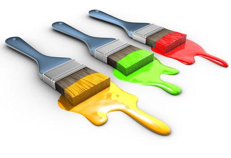 Trois pinceau avec vert-jaune et rouge de rendu 3d - peinture