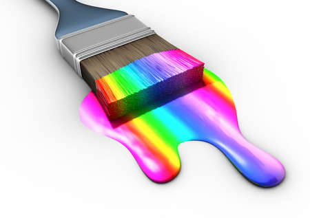 paint bucket: Paint brush with multicolored paint - 3d render