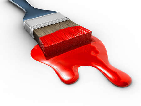 Paintbrush with red flowing paint - 3d render photo